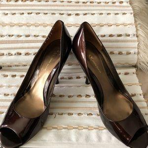 Anne Klein Patent peep toe pumps